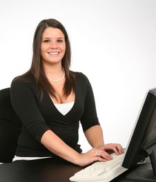 Happy Employee On Computer Royalty Free Stock Photo