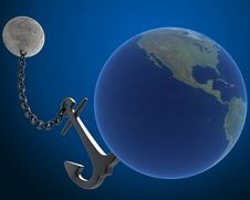 Free Moon Holds The Earth With An Anchor Royalty Free Stock Images - 17668639