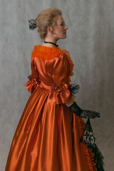Free Standing Girl In Baroque Dress Stock Images - 17669324
