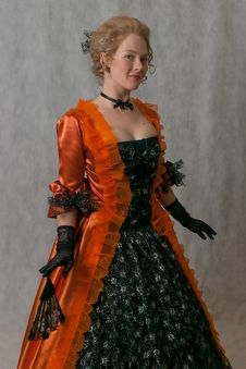 Free Standing Girl In Baroque Dress Royalty Free Stock Photography - 17669327