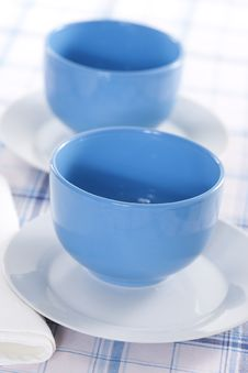 Free Two Empty Blue Plates For The Soup Royalty Free Stock Photo - 17669655