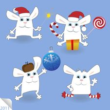 Free Christmas Rabbits Set Stock Images - 17670624