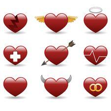 Free Heart Glossy Icons Set Royalty Free Stock Photos - 17670738