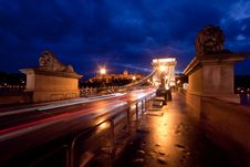 Budapest By Night / Chain Bridge Royalty Free Stock Photo