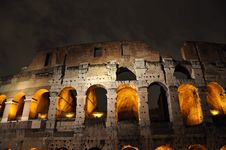 Colosseum In The Night Stock Photo