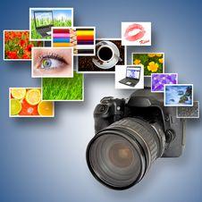 Free Camera And Photographs Royalty Free Stock Photo - 17671625