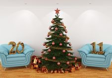 Christmas Tree In The Interior 2011 Gold Royalty Free Stock Photography