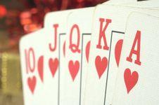Free Straight Hearts Poker Hand Stock Image - 17672731