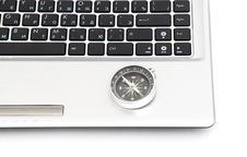 Free Compass On The Laptop Keyboard Royalty Free Stock Image - 17673106