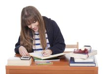 Free Young Student Girl Writing Stock Photography - 17673962