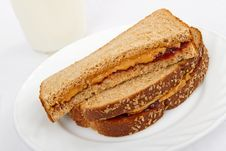 Free Peanut Butter And Jelly Sandwich On Whole Wheat Stock Images - 17674644