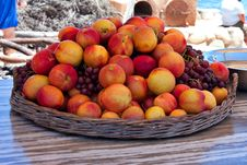 Fresh Fruit Peaches And Grapes Royalty Free Stock Photo