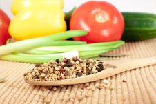 Free Spices Mixed Over The Spoon Royalty Free Stock Photography - 17675687
