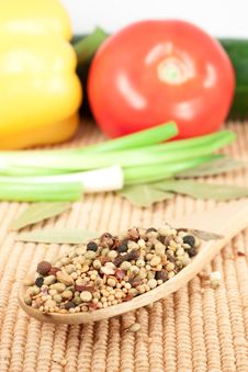 Free Spices Mixed Over The Spoon Stock Photography - 17675692