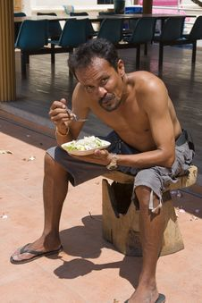 Free Thai Man Eats Stock Photos - 17675853