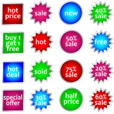 Free Set Of Colorful Sale Stickers Stock Photography - 17677342