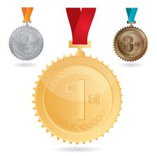 Vector Medals - Gold, Silver And Bronze Stock Photos