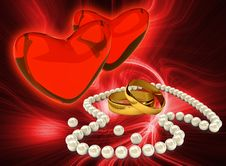 Pearl S Necklace With Gold Rings Royalty Free Stock Photo