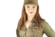 Free Beautiful Woman In Military Clothes Royalty Free Stock Photography - 17677927