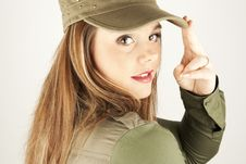 Beautiful Woman In Military Clothes Stock Photos