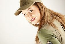 Free Beautiful Woman In Military Clothes Stock Photography - 17677962