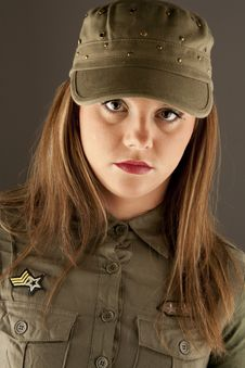Free Beautiful Woman In Military Clothes Stock Photography - 17677972