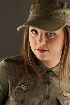 Beautiful Woman In Military Clothes Stock Image