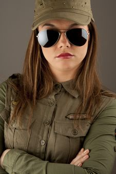 Free Beautiful Woman In Military Clothes Royalty Free Stock Photo - 17677995