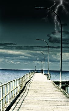 Free Fishing Pier In A Storm Stock Photos - 17678653