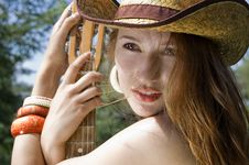 Free Portrait Of A Girl In A Cowboy Hat Stock Photos - 17678813