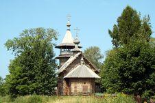 Russian Orthodox Wooden Church Stock Photo