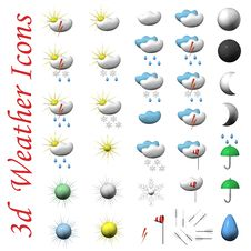 Free Icons Of Symbols Of Weather, 3d. Royalty Free Stock Image - 17679006