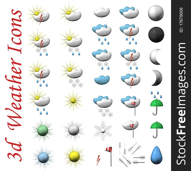Icons Of Symbols Of Weather 3d Free Stock Images Photos