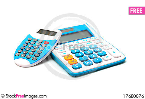 Free Blue Color Calculator On White Background Royalty Free Stock Image - 17680076