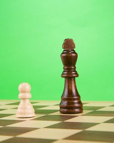 Free Black Piece On Board Isolated On Green Royalty Free Stock Image - 17680656