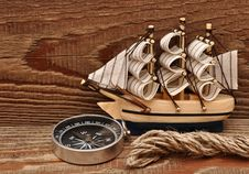 Free Compass, Rope And Model Classic Boat Stock Photos - 17682013