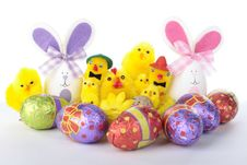 Free Easter Bunnies And Chicks With Eggs Over White Royalty Free Stock Photos - 17682158