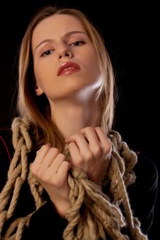 Free Seductive Young Woman Tied In Ropes Stock Photo - 17682330