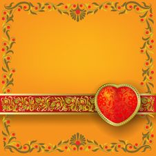 Free Valentines Greeting With Red Heart Royalty Free Stock Photos - 17682398