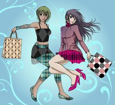 Free Two Shopping Friends - With Background Royalty Free Stock Images - 17682479