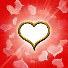 Free Valentine S Golden Heart Royalty Free Stock Photos - 17682538