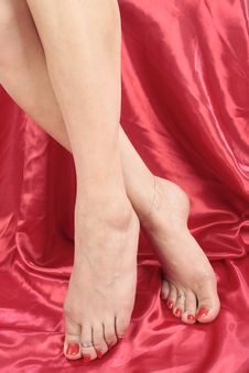 Woman Feet And Legs Isolated Over Red Stock Photography