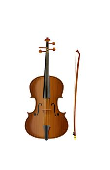 Violin With A Bow Royalty Free Stock Photography