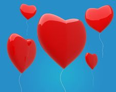 Free Heart Balloons In The Blue Sky Stock Photography - 17684102