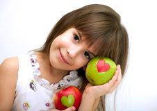 Free The Beautiful Girl With Apples Stock Image - 17684501