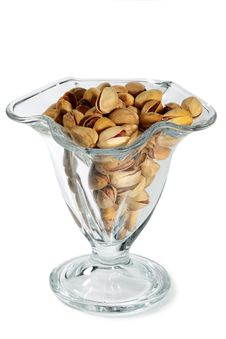 Pistachio Nuts And Salt In A Glass Vase Royalty Free Stock Photography