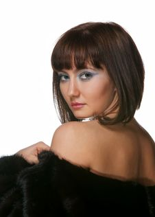 Free The Sexy Girl In A Fur Coat Royalty Free Stock Images - 17685089