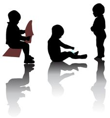 Free Silhouettes Of Small Kids Stock Photography - 17685432
