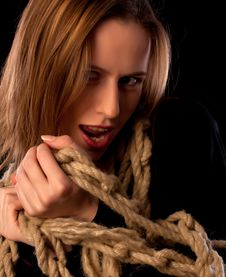 Free Playful Young Girl Tied In Ropes Stock Photos - 17685763
