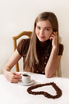Beautiful Girl Drinking Coffee, The Heart Stock Images